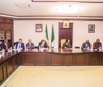 Nigerian Vice President, Prof. Yemi Osinbajo receiving Patrick Pouyanne and the TOTAL delegation